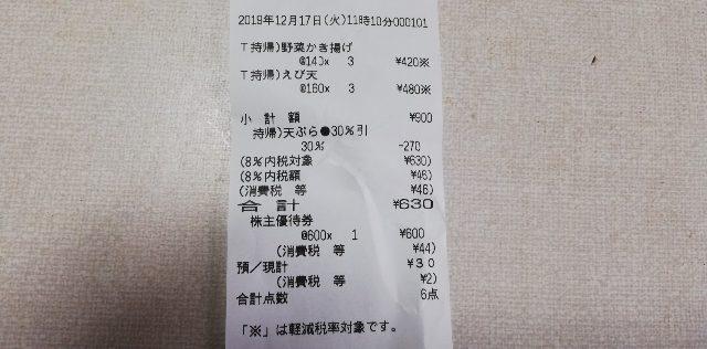 【株主優待券】を使い丸亀製麺 の天ぷらを持ち帰る手順!