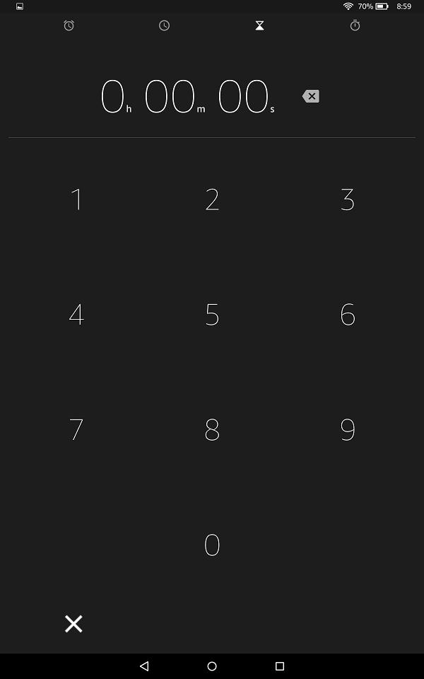 この画面でタイマーの時間を設定します。1分の設定なら「1,0.,0」と入力します。