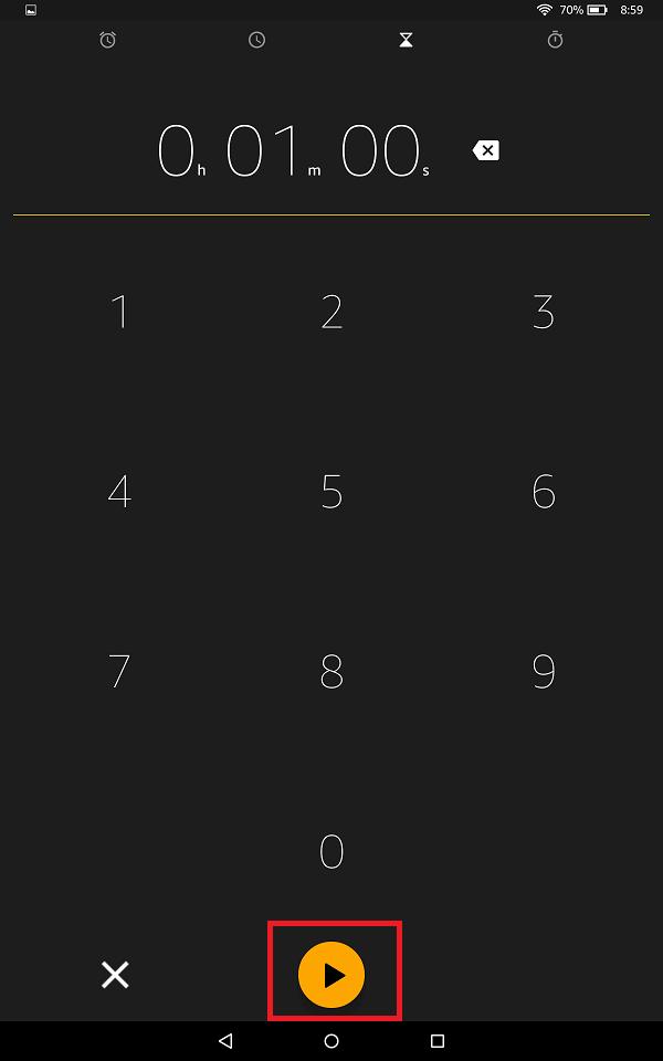 時間を設定したら、「▶」ボタンを選択するとタイマーがスタートします。