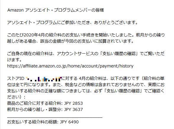Amazonアソシエイトからメールが届きます