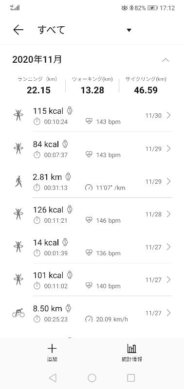21カ月目(11月)の運動記録