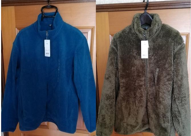 ユニクロのフリースフルジップジャケットとファーフリース!軽くて暖かい!