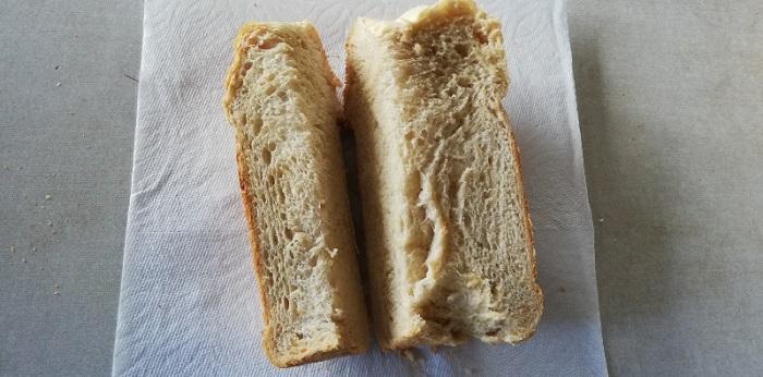 半分に切ったパンを1/3ずつに切る