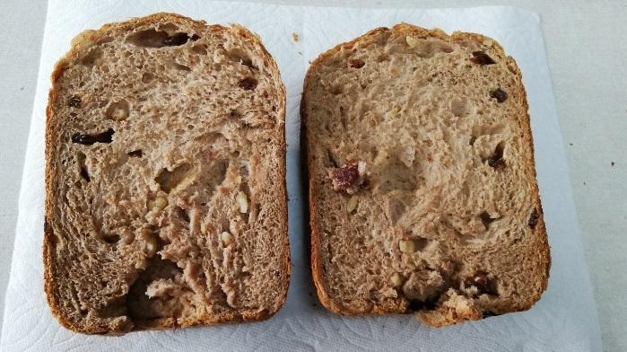 全粒粉100%レーズンクルミ食パンの出来上がり半分のサイズ